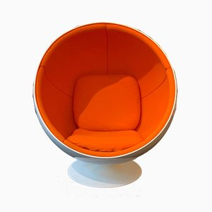 Vintage Space Age Finnish Orange and White Ball Chair by Eero Aarino for Adelta, 1980s