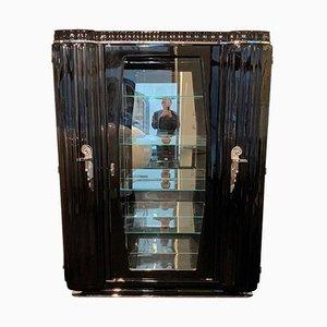 Französischer Art Deco Schrank aus Schwarzem Lack, Nickel und Glas, 1930er