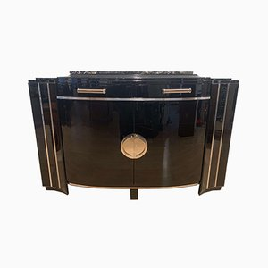 Art Deco French Curved Mahogany and Chrome Sideboard, 1930s