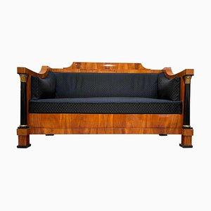 Antique Empire German Cherrywood Veneer and Horse Hair Sofa, 1810s