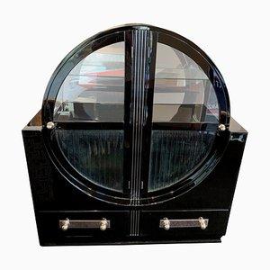 Runder französischer Art Deco Schrank aus schwarzem Lack und Chrom, 1930er