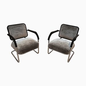 Bauhaus German Black Lacquered Tubular Steel and Velvet Cantilever Club Chair, 1930s