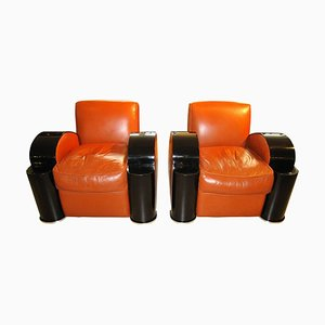 Art Deco Style French Club Chairs and Footstool Set, 1970s