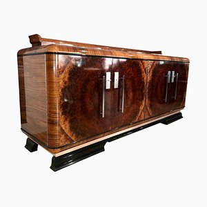 Bauhaus German Round Walnut Veneer Sideboard, 1930s