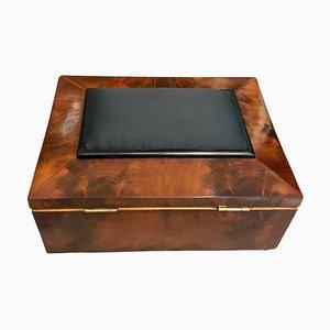 Caja de la costura francesa antigua de caoba Biedermeier, década de 1820