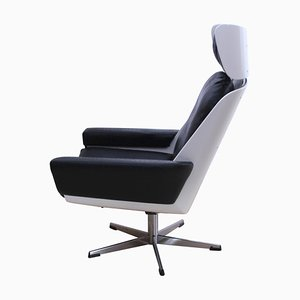 Vintage German White Lacquered Wood and Faux Leather Lounge Chair, 1970s