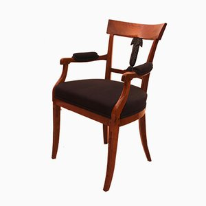 Small Antique Biedermeier German Carved Ashwood Armchair, 1830s
