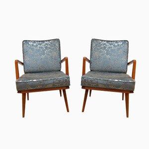 Deutsche Mid-Century Armlehnstühle aus Kirschholz & Blauem Stoff, 1950er, 2er Set