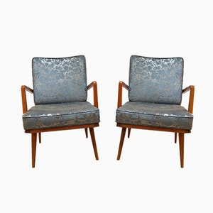 Mid-Century German Cherrywood and Silver Blue Fabric Armchairs, 1950s, Set of 2