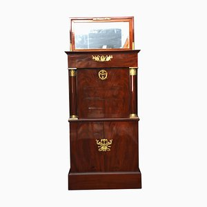 Small Antique Empire French Mahogany and Bronze Secretaire, 1810s