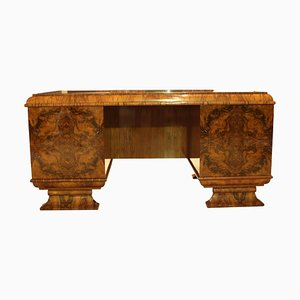 Art Deco German Walnut Veneer Desk, 1930s
