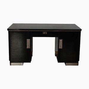 Bauhaus Deutscher Schreibtisch aus Schwarzem Lack und Chrom, 1930er