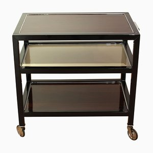 Art Deco French Rosewood and Black Lacquer Trolley, 1940s