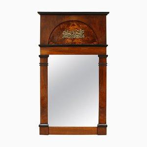 Miroir Biedermeier Antique en Noyer et Laiton, Allemagne, 1820s