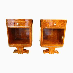 Small Vintage French Amboyna Root Veneer Nightstands, 1930s, Set of 2
