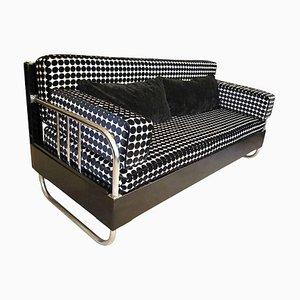 Französisches Art Deco Sofa aus Chrom und schwarzem poliertem Holz, 1930er