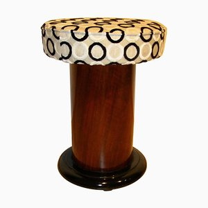 Small Art Deco French Walnut Veneer and Ebonized Stool, 1930s