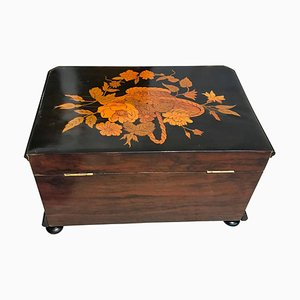 19th Century Biedermeier German Walnut and Ebony Inlays Box