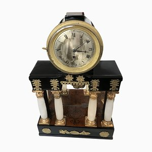 Antique Empire Austrian Alabaster Clock, 1810s