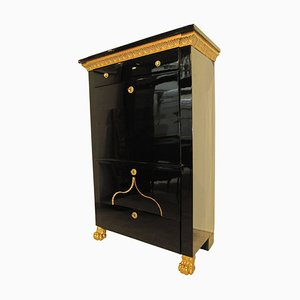 Antique Empire Austrian Gold Plated and Ebonized Maple Secretaire, 1810s