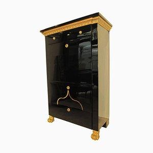 Secreter austriaco antiguo de arce ebonizado bañado en oro, década de 1810