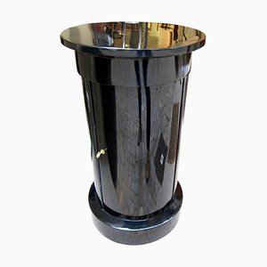 Antique Biedermeier Black Polished Wood and Brass Drum Table, 1830s