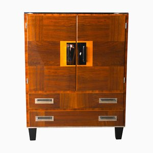 Bauhaus German Walnut Veneer, Maple, and Nickel Cabinet, 1930s