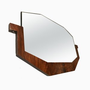 French Art Deco Walnut Veneer Mirror, 1930s