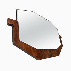 French Art Deco Walnut Veneer Mirror, 1930s