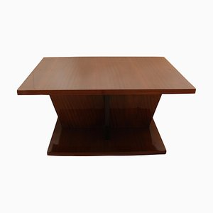 Large French Art Deco Walnut Veneer Side Table, 1930s