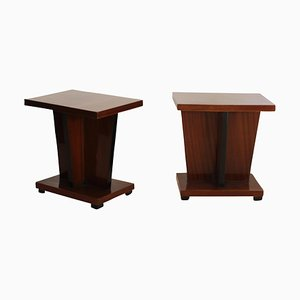 Small French Art Deco Walnut Veneer Side Table, 1930s
