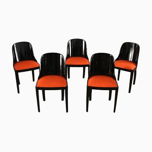 French Art Deco Dining Chairs, 1930s, Set of 5