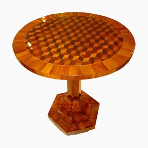 Antique German Biedermeier Cherry Side Table with 3D Inlays