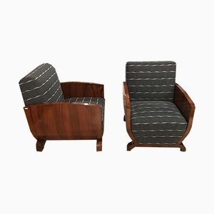 French Art Deco Walnut Veneer Club Chairs, 1930s, Set of 2