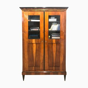 Antique German Biedermeier Walnut Veneer Bookcase, 1825