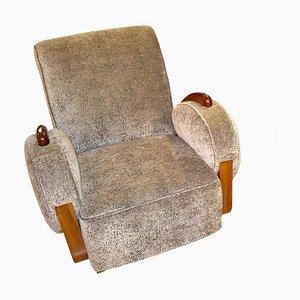 French Art Deco Velvet Club Chair, 1920s