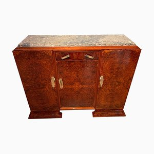 French Art Deco Walnut Roots Veneer, Marble & Brass Sideboard, 1930s