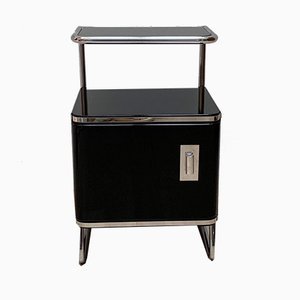 German Bauhaus Black Lacquer & Steel Tube Nightstand, 1930s