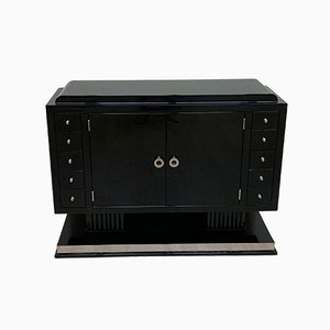 Small French Art Deco Lacquered Sideboard with Drawers, 1930s
