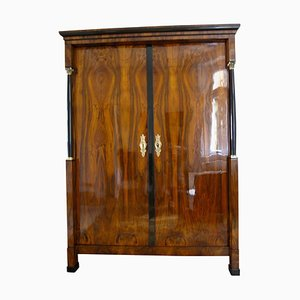 Antique Austrian Empire Walnut Veneer & Brass Armoire, 1815