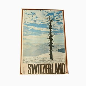 Swiss National Tourist Office Travel Advertising Lithograph by H Kasser from Buchdruckerei Winterthur AG, 1970s
