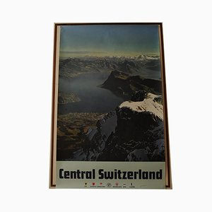 Central Switzerland Anytime Holiday Time Reise Lithografie, 1970er