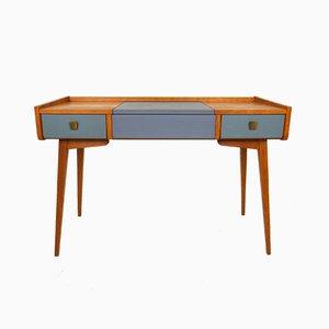 Deutscher Buchenholz Schreibtisch mit Spiegel, 1950er