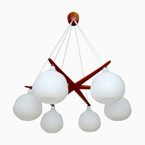 Large Swedish Teak & Opaline Glass Chandelier by Uno & Östen Kristiansson for Luxus, 1960s