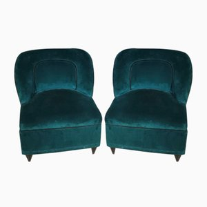 Velvet Lounge Chairs by Gio Ponti, 1950s, Set of 2