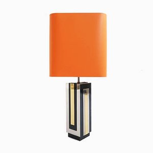 Large Chrome-Plated & Metal Table Lamp by Philippe Jean, 1970s