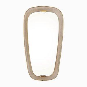 Französischer Beleuchteter Spiegel aus perforiertem Metall & Messing, 1950er