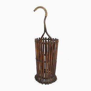 Italienischer Mid-Century Bambus Halter oder Schirmständer aus Bambus, 1950er