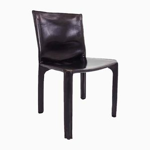 Italian Leather Model CAB 412 Dining Chairs by Mario Bellini for Cassina, 1977, Set of 6
