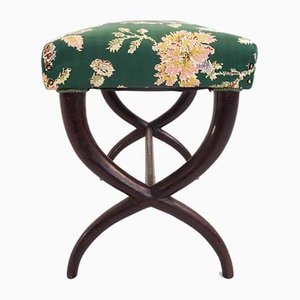 Italian Flower Satin Fabric Stool by Guglielmo Ulrich, 1940s